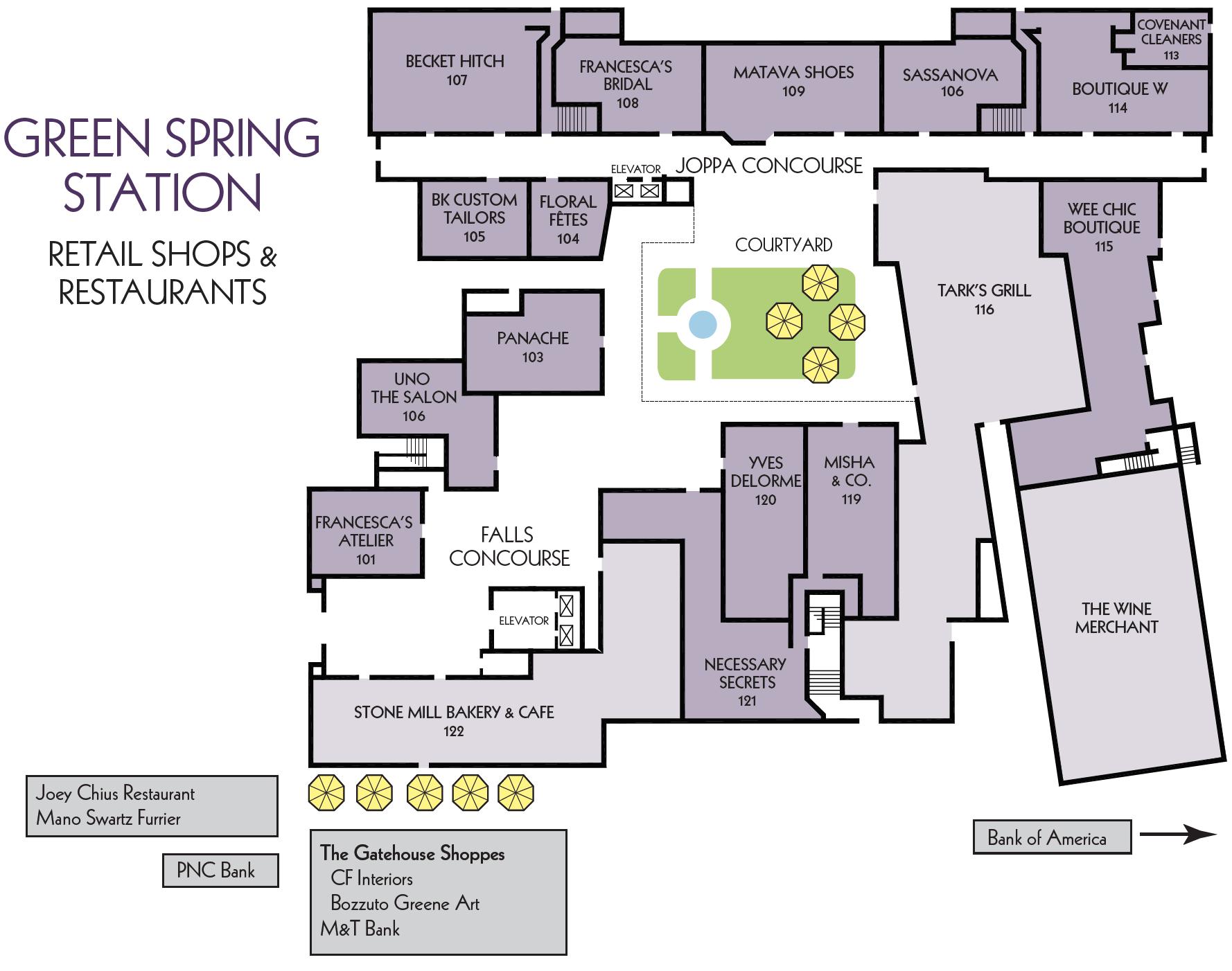 Greenspring Station Retail Map